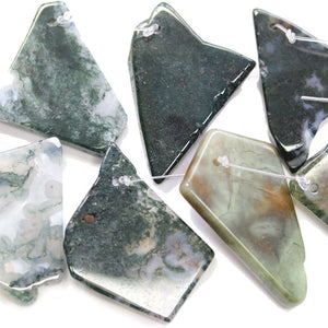 Moss Agate Stone Large Nugget Slices BeadsBeads by Halcraft Collection