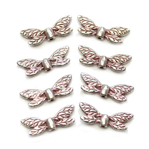 Red & Silver Tone Metal Wing 8x22mm BeadsBeads by Halcraft Collection