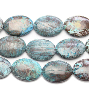 Aqua Dyed Striped Jasper Oval 18x25mm BeadsBeads by Halcraft Collection