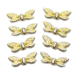 Yellow & Silver Tone Metal Wing 8x22mm BeadsBeads by Halcraft Collection
