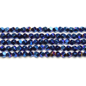 Blue Iris Plated Hematine 4mm Pentagon Faceted Round BeadsBeads by Halcraft Collection