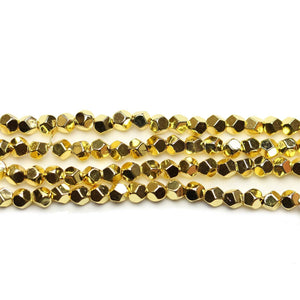 Gold Plated Hematine 4mm Pentagon Faceted Round BeadsBeads by Halcraft Collection