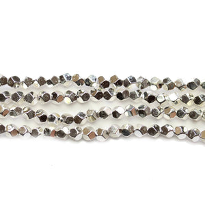 Silver Plated Hematine 4mm Pentagon Faceted Round BeadsBeads by Halcraft Collection