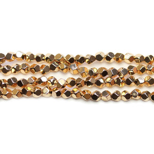 Red Gold Plated Hematine 4mm Pentagon Faceted Round BeadsBeads by Halcraft Collection