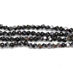 Black Rhodium Plated Hematine 4mm Pentagon Faceted Round BeadsBeads by Halcraft Collection