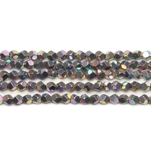 Bright Rainbow Plated Hematine 4mm Pentagon Faceted Round BeadsBeads by Halcraft Collection