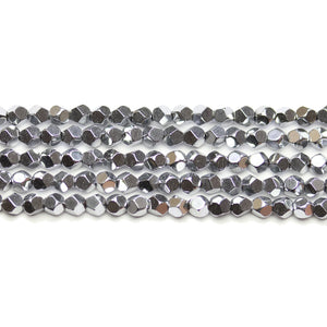 Medium Silver Tone Plated Hematine 4mm Pentagon Faceted Round BeadsBeads by Halcraft Collection