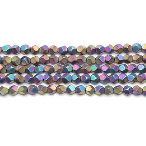 Rainbow Matte Plated Hematine 4mm Pentagon Faceted Round BeadsBeads by Halcraft Collection