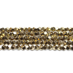 Brass Plated Hematine 4mm Pentagon Faceted Round BeadsBeads by Halcraft Collection
