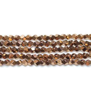 Coppet Plated Hematine 4mm Pentagon Faceted Round BeadsBeads by Halcraft Collection
