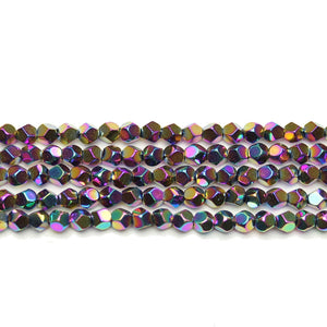 Rainbow Plated Hematine 4mm Pentagon Faceted Round BeadsBeads by Halcraft Collection