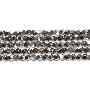 Dark Silver Plated Hematine 4mm Pentagon Faceted Round BeadsBeads by Halcraft Collection