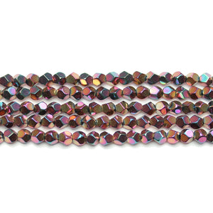 Copper Rainbow Iris Plated Hematine 4mm Pentagon Faceted Round BeadsBeads by Halcraft Collection