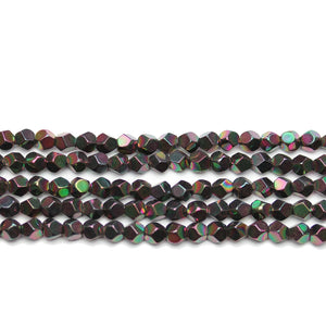 Chocolate Brown Rainbow Plated Hematine 4mm Pentagon Faceted Round BeadsBeads by Halcraft Collection
