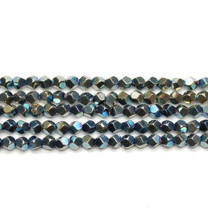Green Iris Plated Hematine 4mm Pentagon Faceted Round BeadsBeads by Halcraft Collection