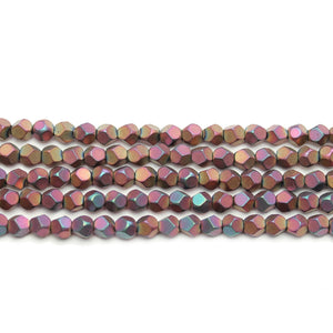 Copper Rainbow Iris Matte Plated Hematine 4mm Pentagon Faceted Round BeadsBeads by Halcraft Collection