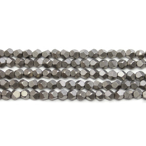 Iron Tone Matte Plated Hematine 4mm Pentagon Faceted Round BeadsBeads by Halcraft Collection