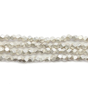 Silver Plated Matte Hematine 4mm Pentagon Faceted Round BeadsBeads by Halcraft Collection