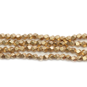 Red Gold Matte Plated Hematine 4mm Pentagon Faceted Round BeadsBeads by Halcraft Collection