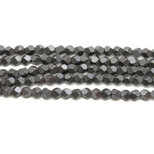 Hematite Matte Plated Hematine 4mm Pentagon Faceted Round BeadsBeads by Halcraft Collection