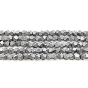 Dark Silver Matte Plated Hematine 4mm Pentagon Faceted Round BeadsBeads by Halcraft Collection