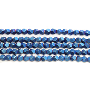 Blue Iris Matte Plated Hematine 4mm Pentagon Faceted Round BeadsBeads by Halcraft Collection