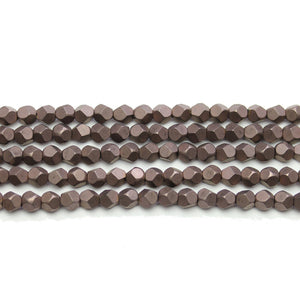 Chocolate Brown Matte Plated Hematine 4mm Pentagon Faceted Round BeadsBeads by Halcraft Collection