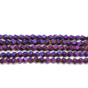 Purple Iris Matte Plated Hamtine 4mm Pentagon Faceted Round BeadsBeads by Halcraft Collection