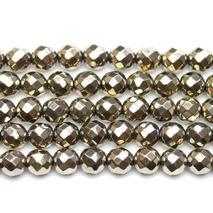 Gold Tone Plated Faceted Round 8mm BeadsBeads by Halcraft Collection