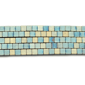 Blue Wash Brass Matte Hematine 4mm Cube BeadsBeads by Halcraft Collection