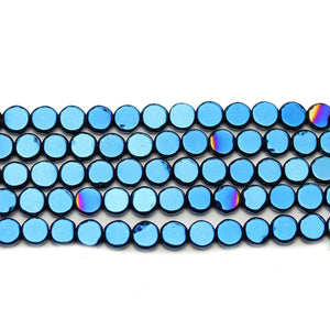 Blue Iris Plated Hematine 5mm Disk BeadsBeads by Halcraft Collection
