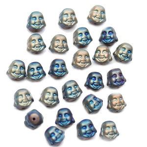 Blue & Green Iris Matte Plated Hematine Happy Budda BeadsBeads by Halcraft Collection