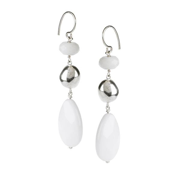Agate, Teardrop, Silver, Silver Plated, Natural Stone, Earrings, White
