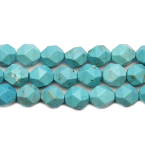 Semi Precious Turquoise Dyed White Howlite Triangle Faceted 8mm Round BeadsBeads by Halcraft Collection