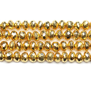 Metallic Gold Plated Pyrite Stone 6mm Rondell BeadsBeads by Halcraft Collection