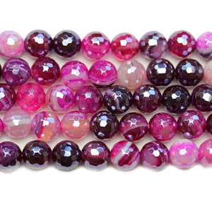 Semi Precious Magenta Dyed Agate Stone Silver Luster Faceted 8mm Round BeadsBeads by Halcraft Collection