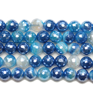Semi Precious Blue Dyed Agate Stone Silver Luster Faceted 8mm Round BeadsBeads by Halcraft Collection