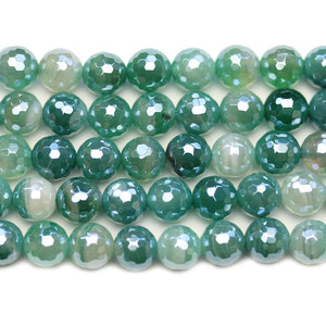 Semi Precious Green Dyed Agate Stone Silver Luster Faceted 8mm Round BeadsBeads by Halcraft Collection
