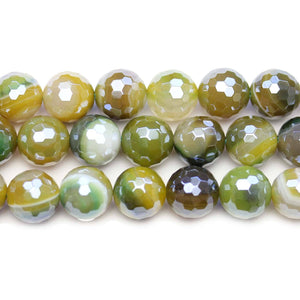 Semi Precious Green Dyed Agate Stone Silver Luster Faceted 10mm Round BeadsBeads by Halcraft Collection