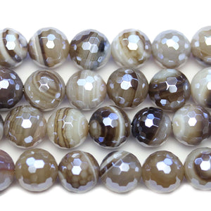 Semi Precious Natural Agate Stone Silver Luster Faceted 12mm Round BeadsBeads by Halcraft Collection