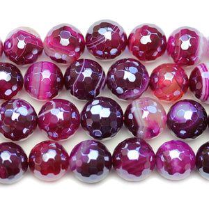 Semi Precious Purple Dyed Agate Stone Silver Luster Faceted 11-12mm Round BeadsBeads by Halcraft Collection