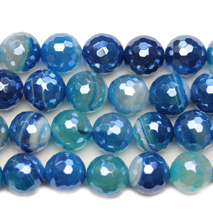 Semi Precious Blue Dyed Agate Stone Silver Luster Faceted 12mm Round BeadsBeads by Halcraft Collection