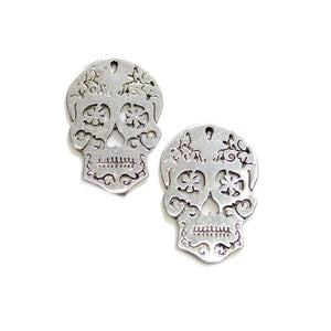 Silver Tone Metal Sugar Skull 20x30mm Charms - 2pcsCharm by Halcraft Collection