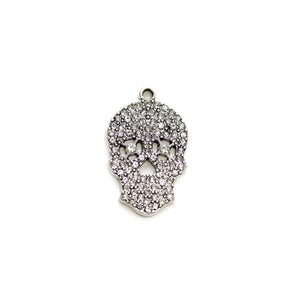 Silver Tone Metal with Rhinestones Skull 21x33mm PendantPendant by Halcraft Collection