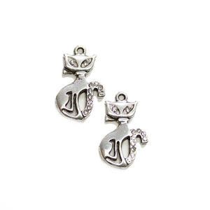 Silver Tone Metal with Rhinestones Cat 16x25mm Charms - 2pcsCharm by Halcraft Collection