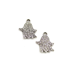 Silver Tone Metal with Rhinestones Ghost 17x20mm Charms - 2pcsCharm by Halcraft Collection