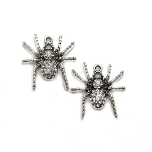 Silver Tone Metal with Rhinestones Spider 25x26mm Charms - 2pcsCharm by Halcraft Collection