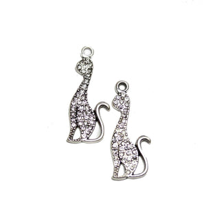 Silver Tone Metal with Rhinestones Cat 14x33mm Charms - 2pcsCharm by Halcraft Collection