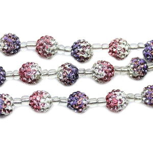 Crystal & Lavender Glass Rhinestone on Clay Ball 10mm BeadsBeads by Halcraft Collection