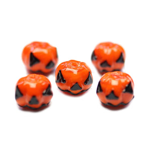Lampwork Glass Jack O Lantern 11x15mm BeadsBeads by Halcraft Collection